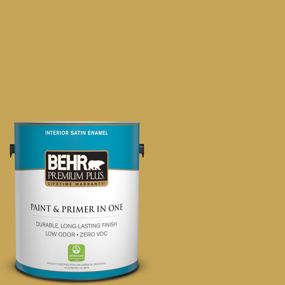 1 gal. #PPU6-18 Lemongrass Zero VOC Satin Enamel Interior Paint