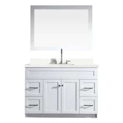 Hamlet 49 in. Bath Vanity in White with Quartz Vanity Top in White with White Basin and Mirror