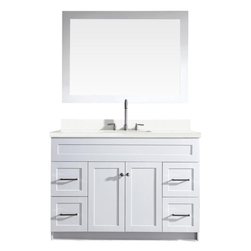 Hamlet 49 in. Bath Vanity in White with Quartz Vanity Top in White with White Basin and Mirror