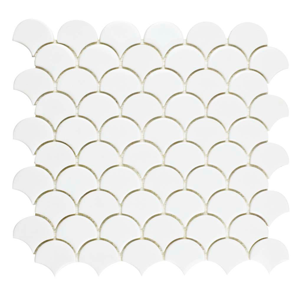 Merola Tile Expressions Scallop White 11-1/4 in. x 12 in. x 7 mm Glass Mosaic Tile