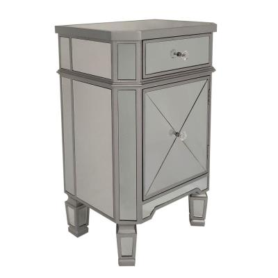 Silver and Gray Single Drawer Mirrored Accent Cabinet