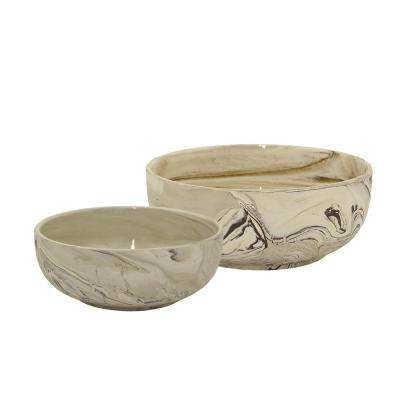 4.75 in. Ceramic Marble Look Bowls (Set of 2)