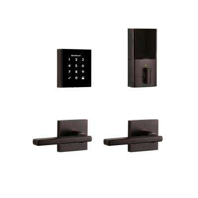 Obsidian Venetian Bronze Keyless Electronic Touchscreen Deadbolt with Halifax Passage Lever