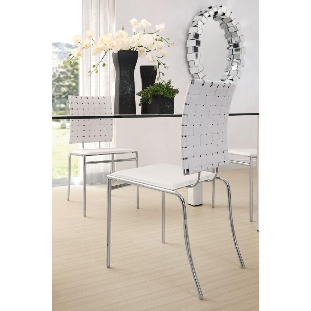 Lovely ZUO Criss Cross White Leatherette Gliding Side Chair (Set Of 4)