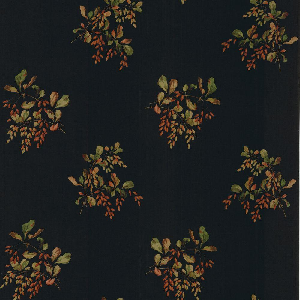The Wallpaper Company 56 sq. ft. Black Back Country Bouquet Wallpaper