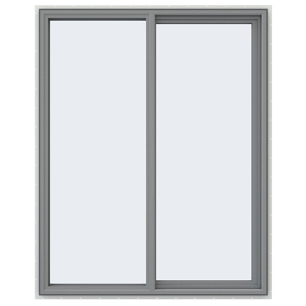 JELD-WEN 47.5 in. x 59.5 in. V-4500 Series Right-Hand Sliding Vinyl Window - Gray