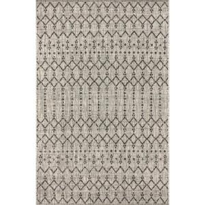 Ourika Moroccan Light Gray/Black 3 ft. 1 in. x 5 ft. Geometric Textured Weave Indoor/Outdoor Area Rug