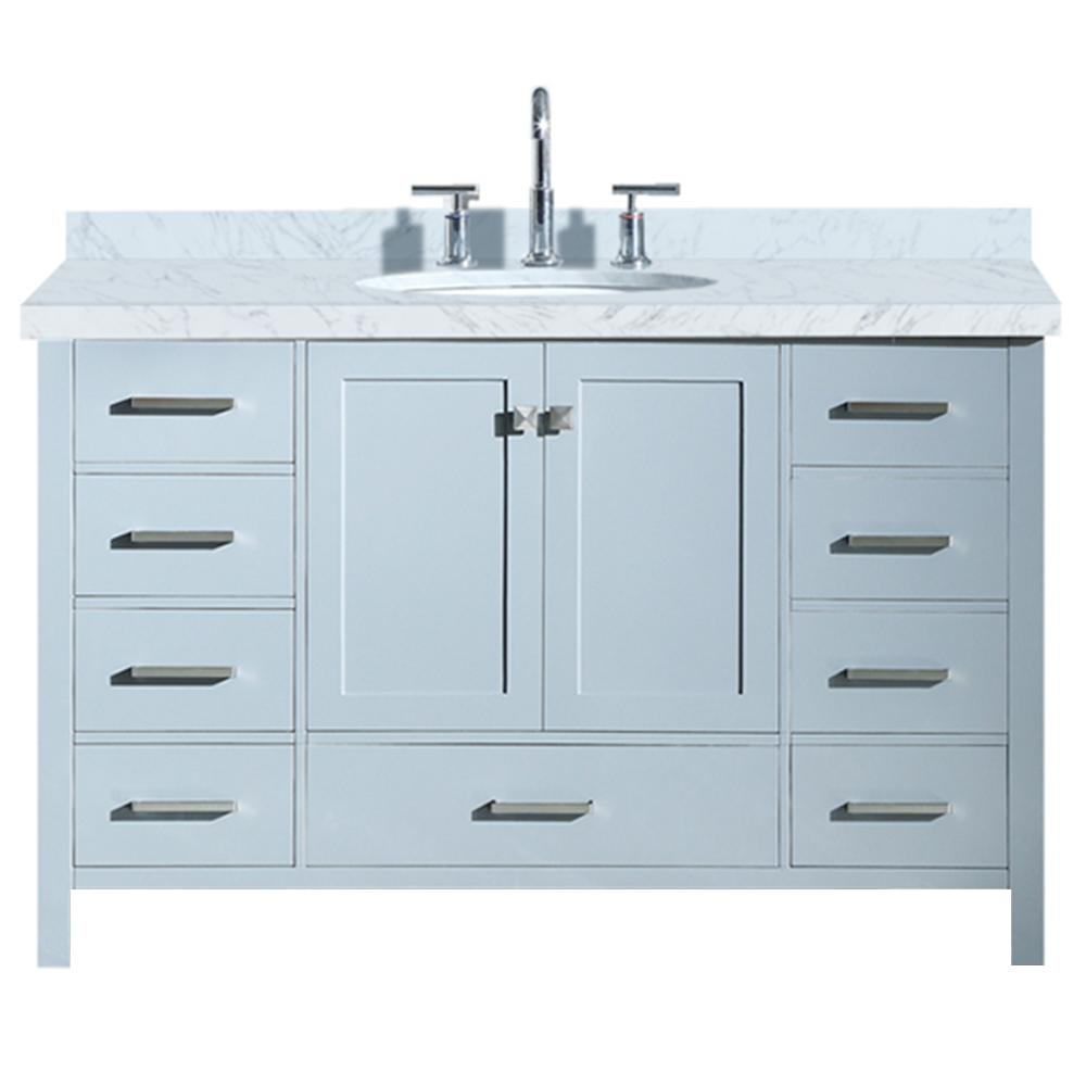 Ariel Cambridge 55 in. Bath Vanity in Grey with Marble Vanity Top in Carrara White with White Basin