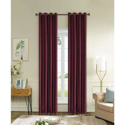 Aberdeen Max Blackout Thermal Coating Polyester Curtain in Burgundy - 120 in. L x 45 in. W