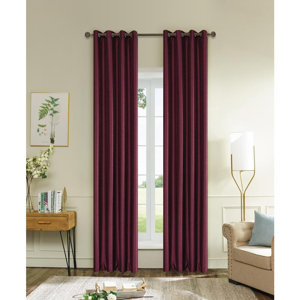 Lyndale Decor Aberdeen 84 in. L x 45 in. W Max Blackout Thermal Coating Polyester Curtain in Burgundy