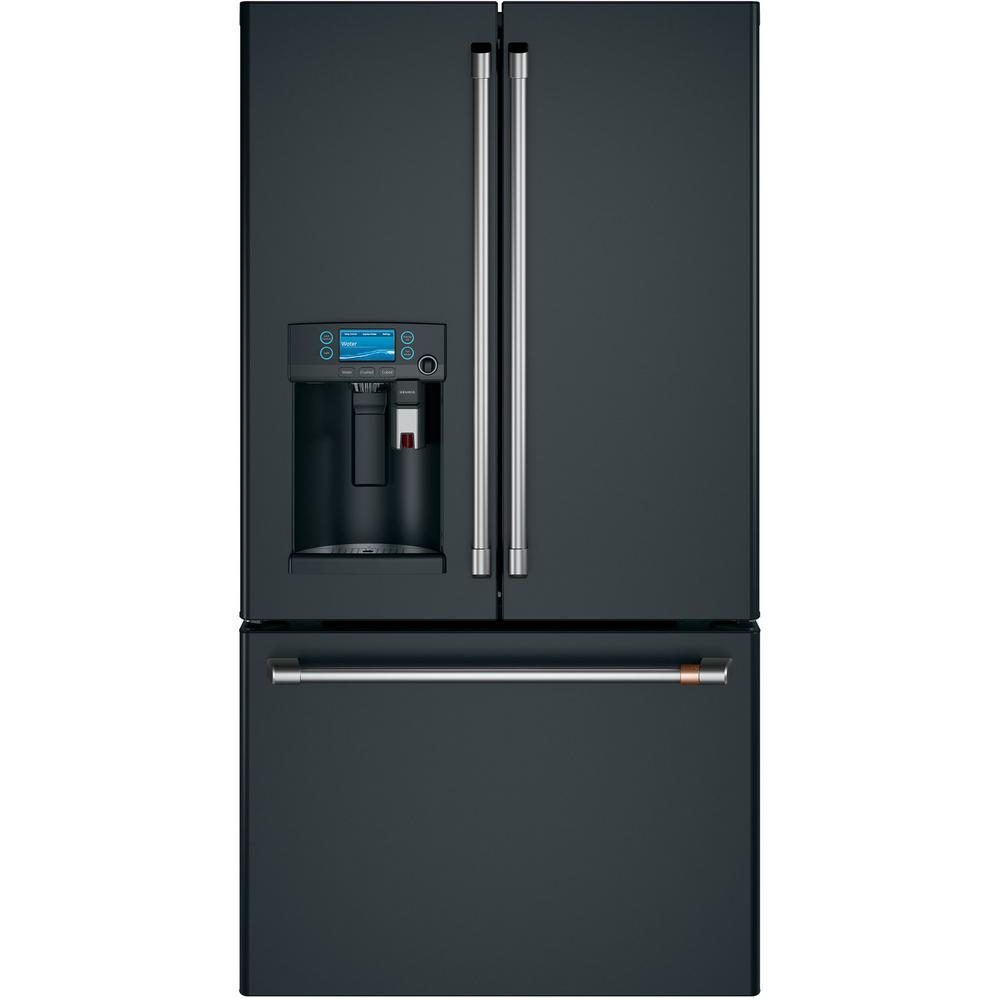 27.8 cu. ft. Smart French Door Refrigerator with Keurig K-Cup in Matte Black, Fingerprint Resistant