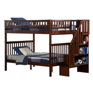 Woodland Walnut Full Over Full Staircase Bunk Bed
