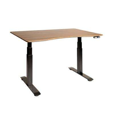 AIRLIFT Black/Walnut S3 Electric Standing Desk Frame w/54 in. Top, Dual Motors (Max. H 51.4 in.) and 4 Memory Buttons
