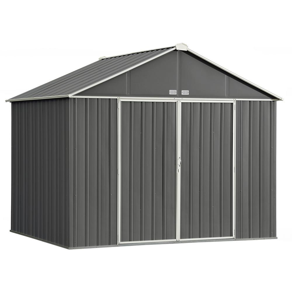 Arrow 10 ft. W x 8 ft. H x 8 ft. D EZEE Extra-High Galvanized Steel Gable Shed in Charcoal/Cream with Snap-IT Quick Assembly