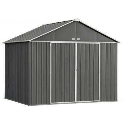 Arrow 8 ft  W x 3 ft  D White Galvanized Metal Garden Shed