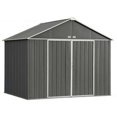 10 ft  W x 8 ft  H x 8 ft  D EZEE Extra-High Galvanized Steel Gable Shed in  Charcoal/Cream with Snap-IT Quick Assembly