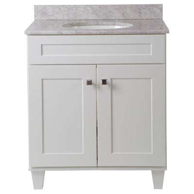 Creeley 31 in. W x 22 in. D Bathroom Vanity in Classic White with Stone Effects Vanity Top in Carrera with White Basin