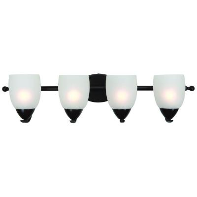 Mirror Lake 4-Light Oil Rubbed Bronze Bathroom Vanity Light with White Etched Glass Shade