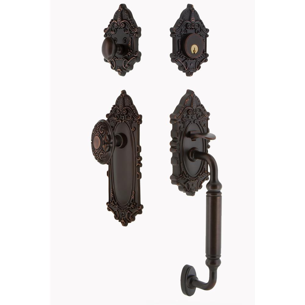 Victorian Plate 2-3/8 in. Backset Timeless Bronze C Grip Keyed Entry