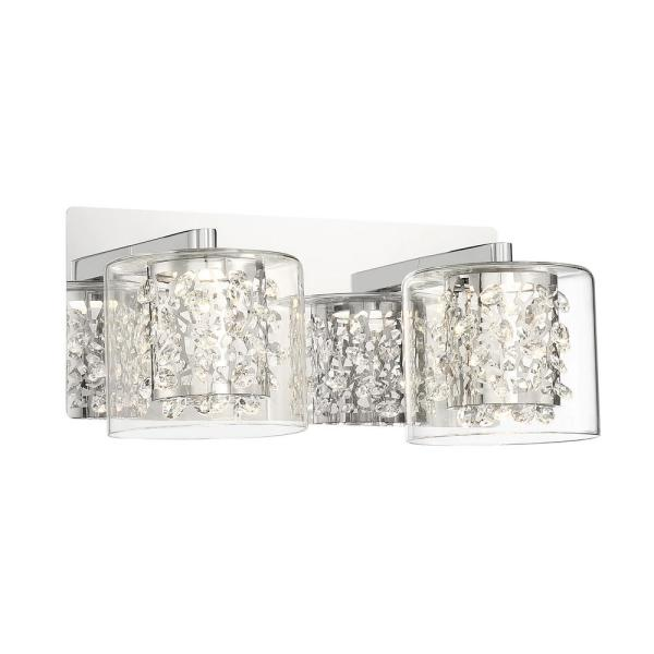 Wild Gems Chrome LED Vanity Light Bar with Crystal and Clear Glass Shade