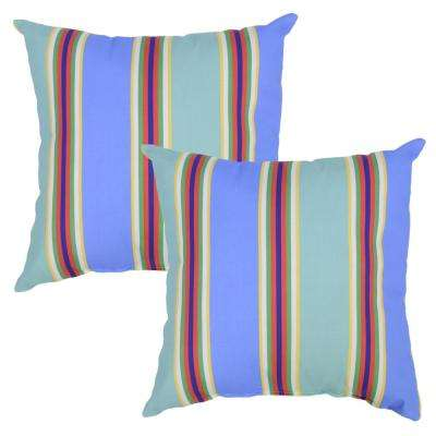 Periwinkle Stripe Square Outdoor Throw Pillow (2-Pack)