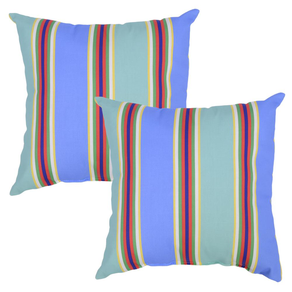 Plantation Patterns Periwinkle Stripe Square Outdoor Throw Pillow 2 Pack