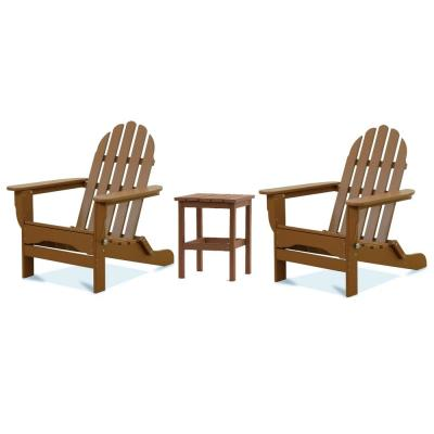 Icon Teak 3-Piece Plastic Folding Adirondack Chat Set