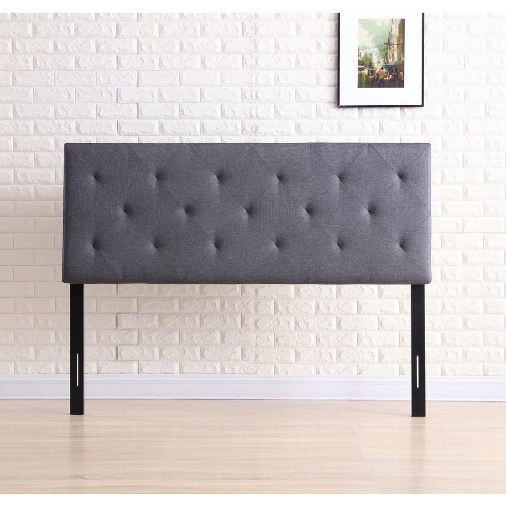 Gray Twin Fabric Upholstered Tufted Rectangular Headboard