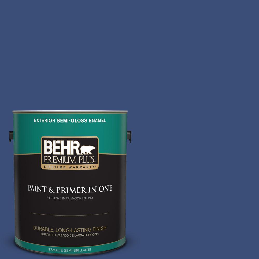1-gal. #600D-7 Daring Indigo Semi-Gloss Enamel Exterior Paint