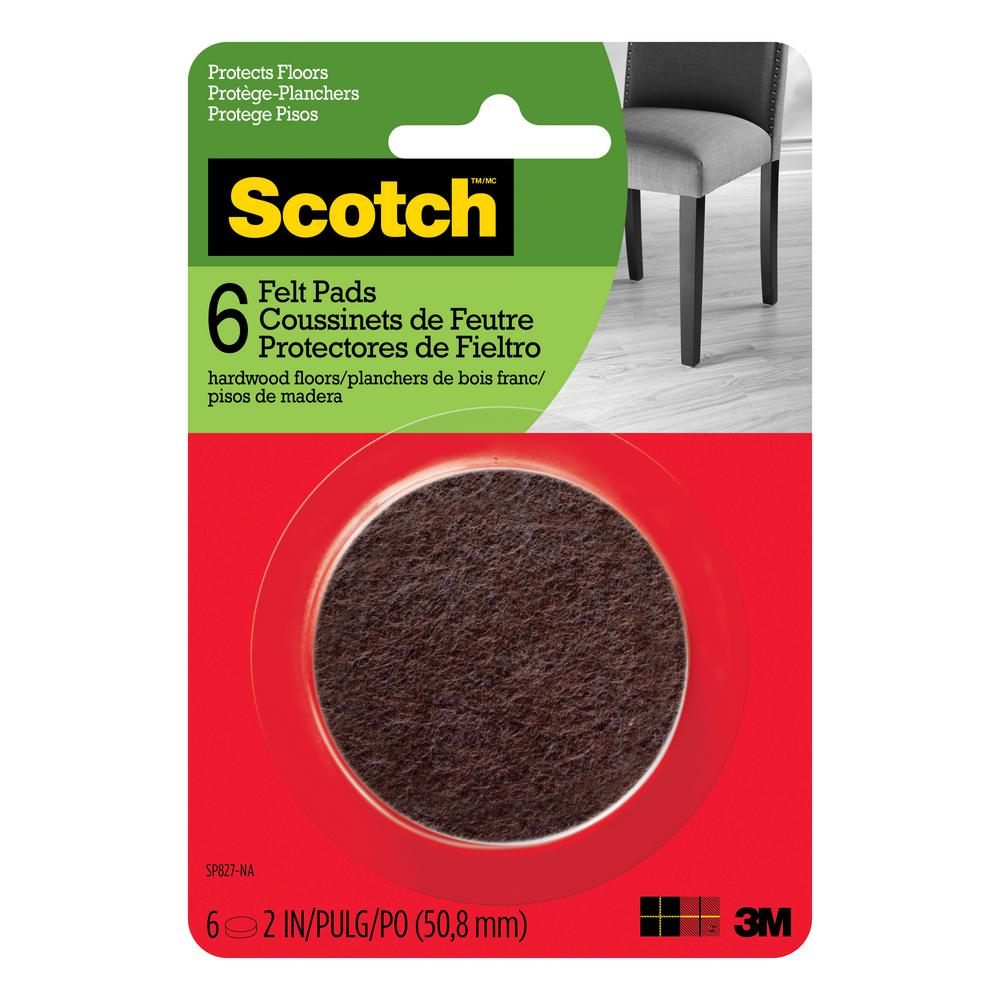 Scotch 2 in. Brown Round Surface Protection Felt Floor Pads (6-Pack)