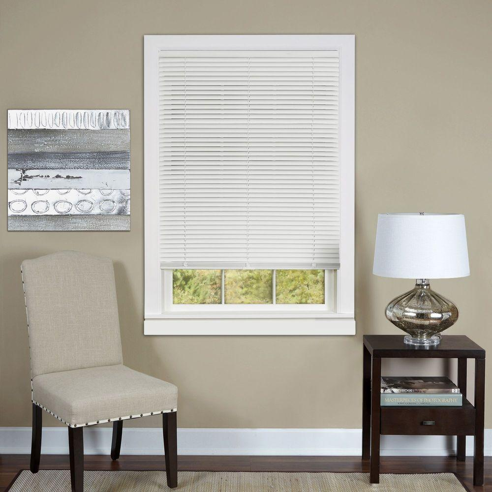 Achim White Cordless 1 in. Vinyl Deluxe Sundown Room Darkening Mini Blind - 27 in. W x 64 in. L