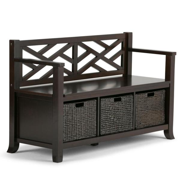 Adrien Solid Wood 47 in. Wide Transitional Storage Bench with Basket Storage in Espresso Brown