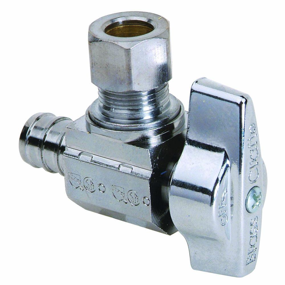 BrassCraft 1/2 in. Nominal Compression PEX Barb Inlet x 3/8 in. O.D. Compression Outlet Brass 1/4-Turn Angle Ball Valve (5-Pack)