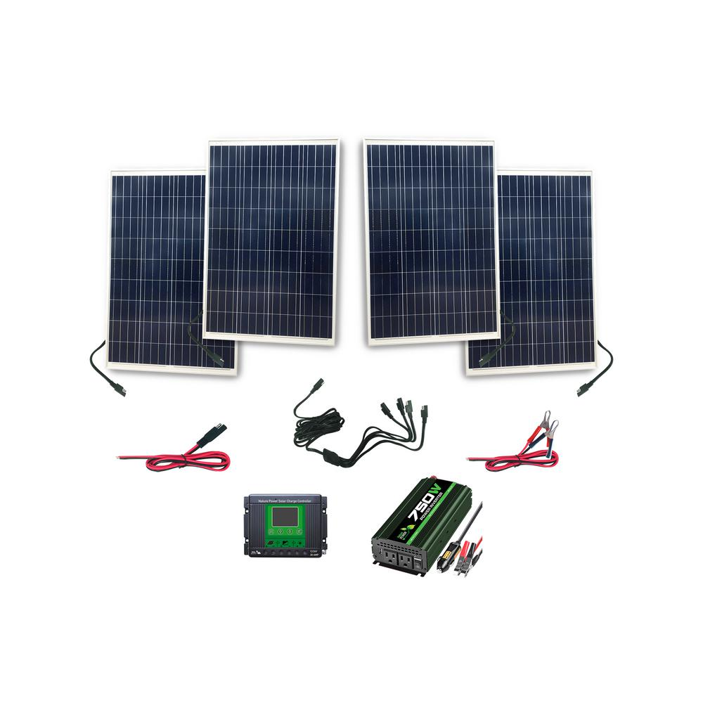 Nature Power 400 Watt Complete Solar Power Kit: 4x100 Watt Solar Panels, 750 Watt Power Inverter, 30 Amp Charge Controller