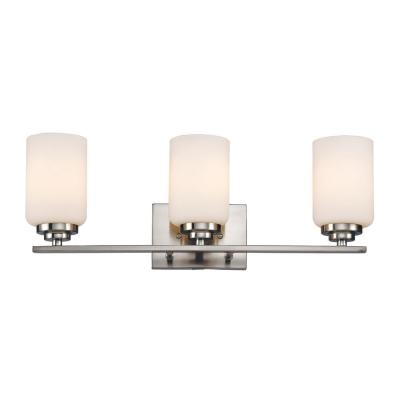 22 in. 3-Light Polished Chrome Vanity Light with Frosted Glass Shade