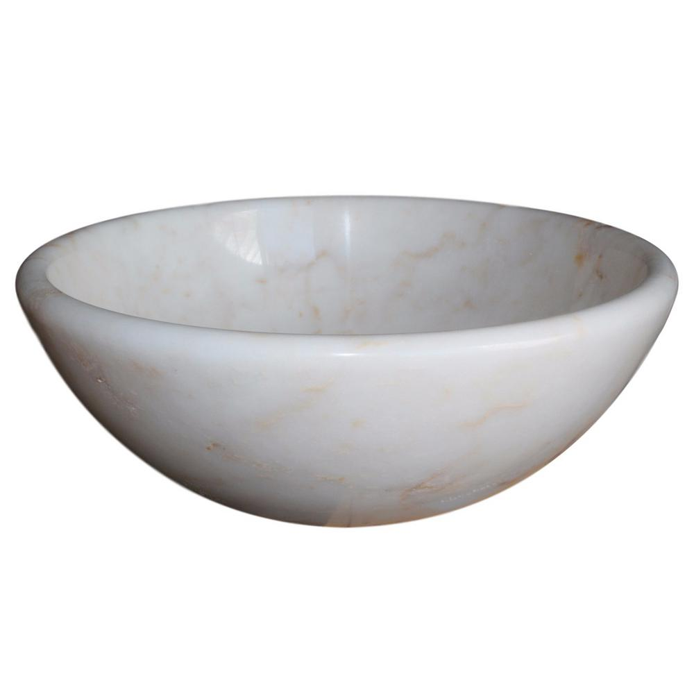 Bon TashMart Round Natural Stone Vessel Sink In White Marble