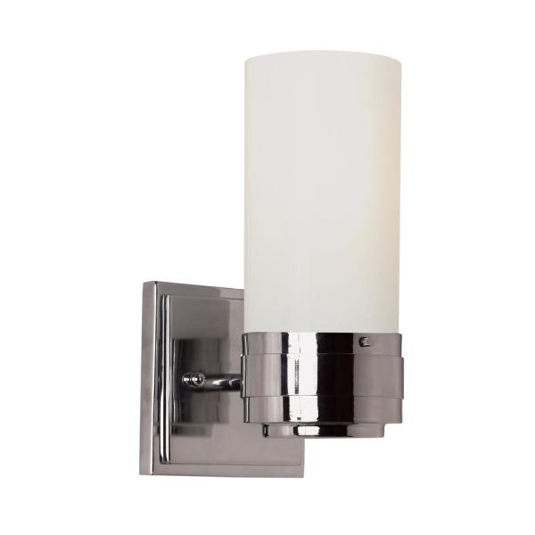 Fusion 1-Light Polished Chrome Sconce with Frosted Glass Shade