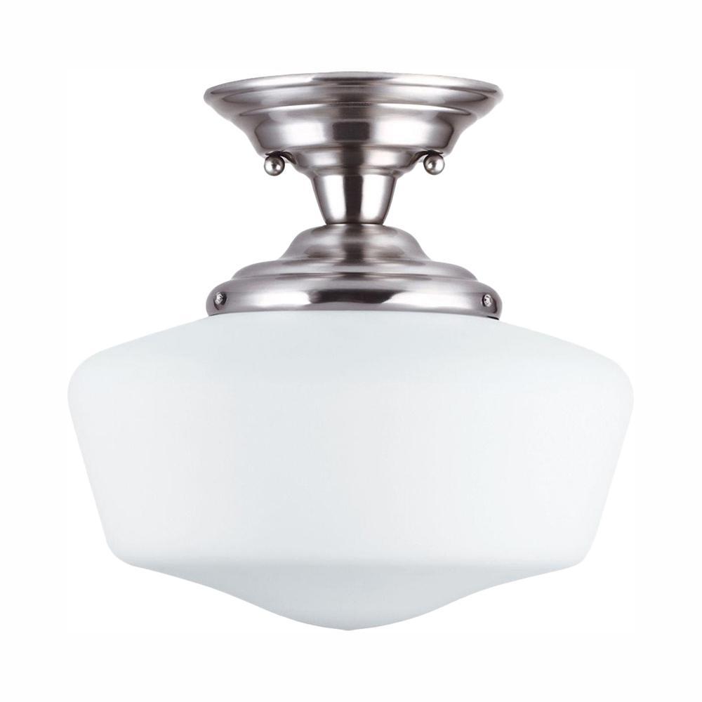 Academy 1-Light Brushed Nickel Semi-Flush Mount with LED Bulb