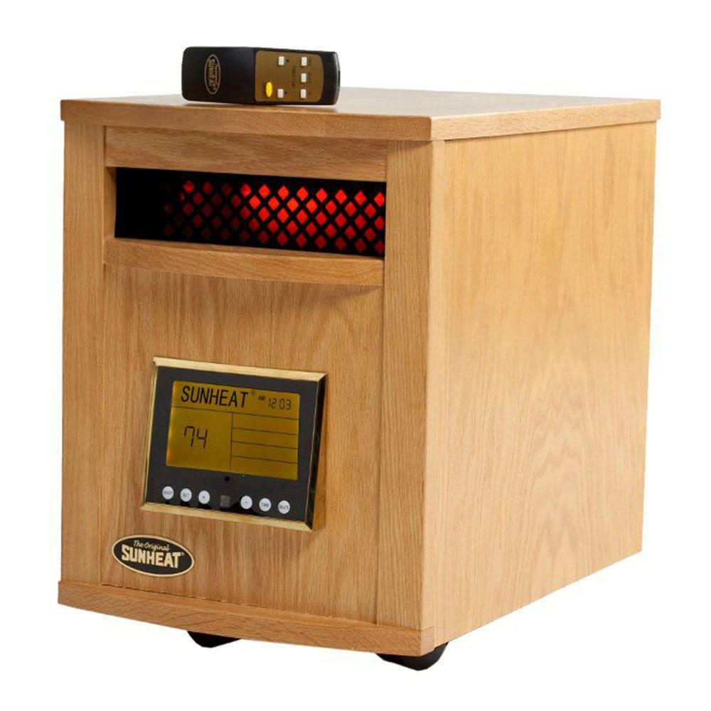 SUNHEAT 17.5 in. 1500-Watt Infrared Electric Portable Heater with Remote Control and Cabinetry - Golden Oak-DISCONTINUED