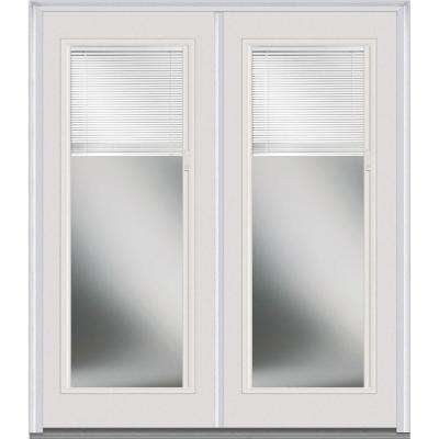 60 in. x 80 in. Internal Blinds Left-Hand Inswing Full Lite Clear Glass Painted Fiberglass Smooth Prehung Front Door