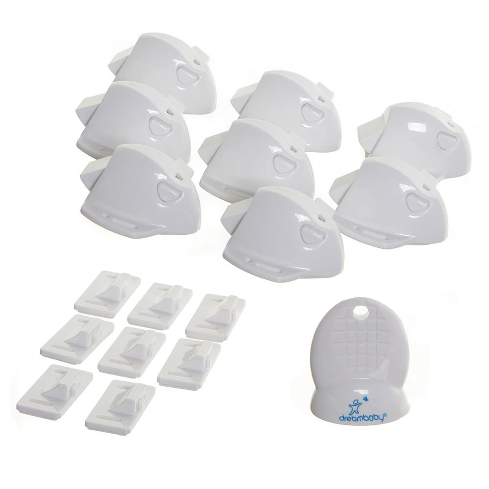 Dreambaby White Mag Locks Adhesive Magnetic Locks (8 Locks, 1 Key)