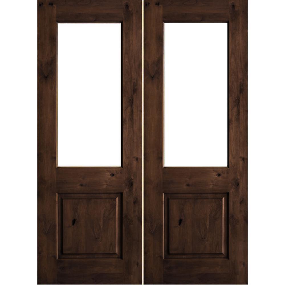 64 in. x 80 in. Rustic Knotty Alder Wood Clear Half-Lite provincial stain Left Active Double Prehung Front Door