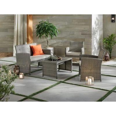 Park Trail Grey 4-Piece Wicker Patio Conversation Set with Light Brown Cushions
