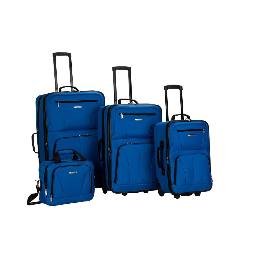 Rockland Sydney Collection Expandable 4-Piece Softside Luggage Set, Blue