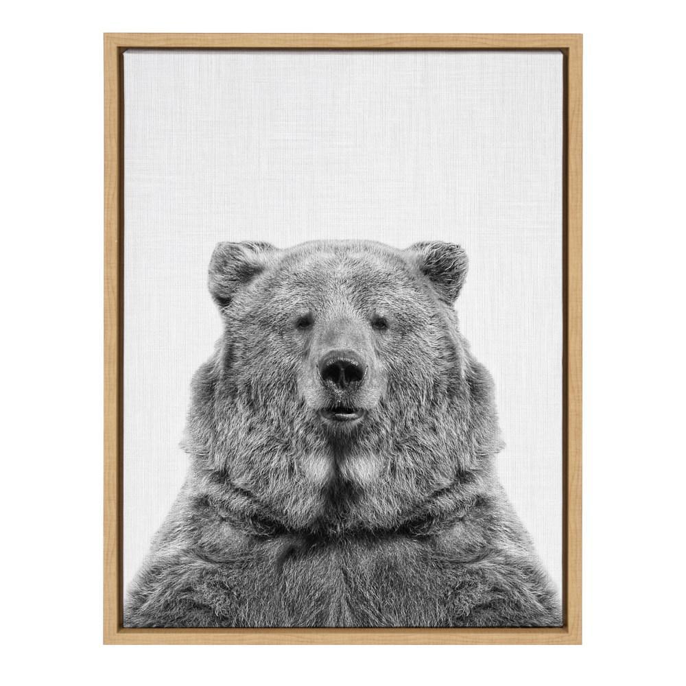 "24 in. x 18 in. ""Bear European"" by Tai Prints Framed Canvas Wall Art"