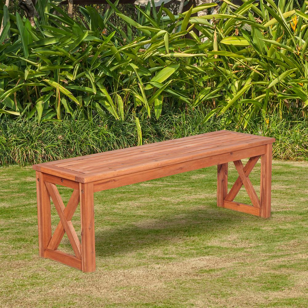Walker Edison Furniture Company Acacia Wood X Frame Patio Bench In Brown