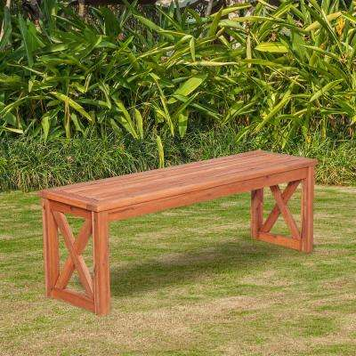 Acacia Wood X-Frame Patio Bench in Brown