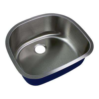 Meridian Undermount Stainless Steel 23.625 in. Single Bowl Kitchen Sink in Brushed Stainless Steel