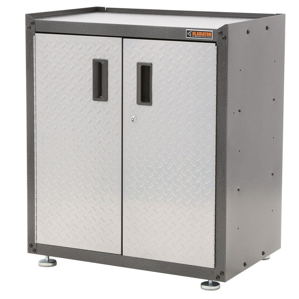 Ready to Assemble 31 in. H x 28 in. W x 18 in. D Steel 2-Door Freestanding Garage Cabinet in Silver Tread