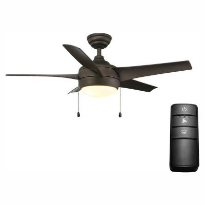 Windward 44 in. LED Oil-Rubbed Bronze Ceiling Fan with Light Kit and Remote Control